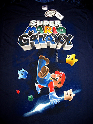 Super Mario Galaxy T-Shirt: Starry Mario (Large)
