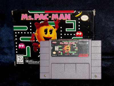 Super Nintendo Game: Ms. Pac-Man with Box