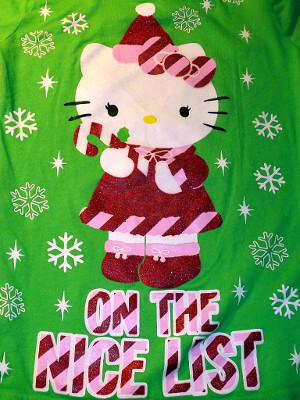Hello Kitty Long Sleeved Shirt: Christmas, On the Nice List (Children's Medium)