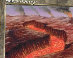 Magic the Gathering Urza's Saga Card: Shivan Gorge