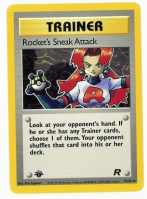 Pokemon TCG Trainer Card: Rocket's Sneak Attack from Team Rocket (1st Edition)