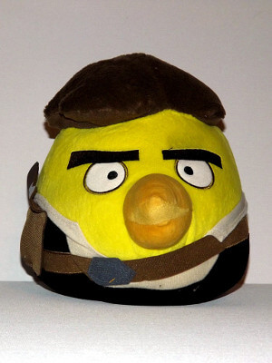 "Angry Birds Plushie: 8½"" Chuck the Yellow Bird, as Wing Solo aka Han Solo from Star Wars"