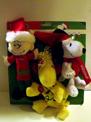"Peanuts Plushie Squeak Toys: 10"" Christmas Charlie Brown, Woodstock and Snoopy"