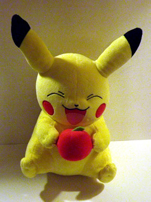 "Pokemon Plushie: 11"" Pikachu, with an Apple"